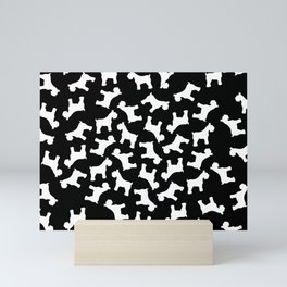 White Schnauzers - Simple Dog Silhouettes Pattern Mini Art Print