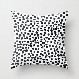 Preppy Black Polka Dots Throw Pillow