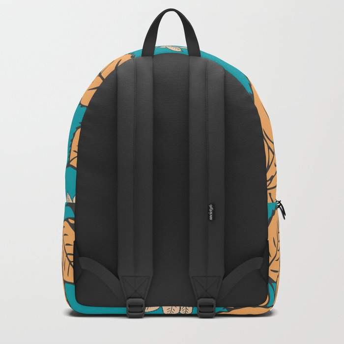 HAPPY LEAVES ON TURQUOISE (abstract tropical flowers) Backpack