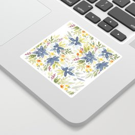 Blue Watercolor Florals Sticker