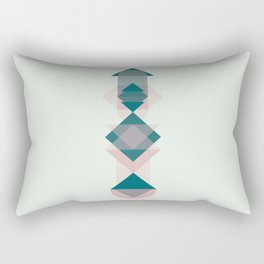 Nr. 1 Geometric Totem Pole Blush Pink and Green Rectangular Pillow