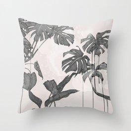Foliage black & white Throw Pillow