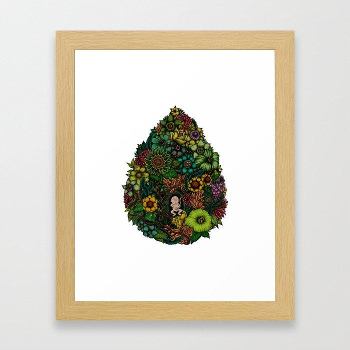 "Floral Uterus ""緑(ROKU)"" Framed Art Print"