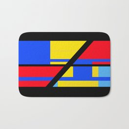 Abstract - Red, Black and Blue Bath Mat