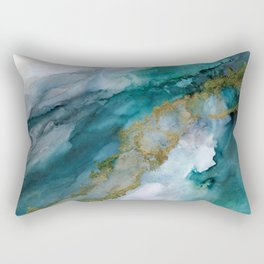 Wild Rush - abstract ocean theme in teal gray gold, marble pattern Rectangular Pillow