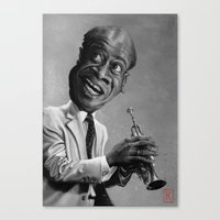 louis armstrong Canvas Prints featuring Louis Armstrong by AndreKoeks
