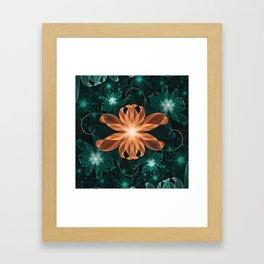 Alluring Turquoise and Orange Tiger Lily Flower Framed Art Print