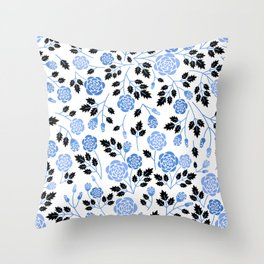 Spring Blues - Roses Throw Pillow