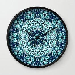 Green Blue Black Mandala  Psychedelic Pattern Wall Clock