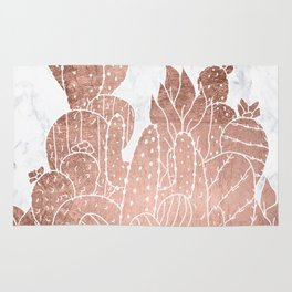 Modern faux rose gold cactus hand drawn pattern illustration white marble Rug