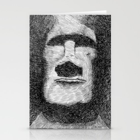 Easter island - Moai statue - Ink Stationery Cards