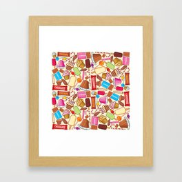 sweets seamless pattern (lollipop, candy cane, pudding in dish, birthday cake with candles) Framed Art Print