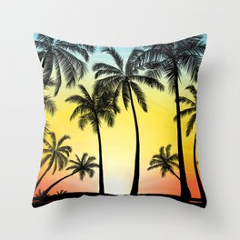 Summer tropical trees and sunset Throw Pillow