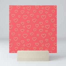 Pink doodle hearts Mini Art Print