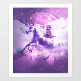 Kitty Cat Riding On Flying Space Galaxy Unicorn Art Print