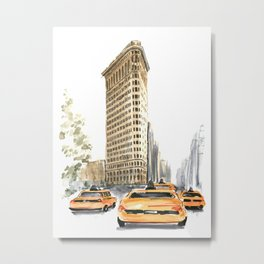 Architecture sketch of the Flatiron building in New york Metal Print