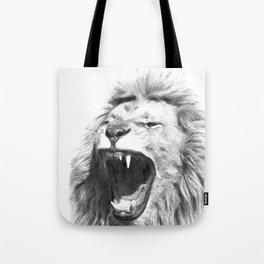 Black White Fierce Lion Tote Bag