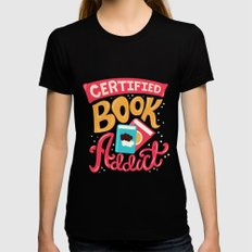 Certified Book Addict MEDIUM Black Womens Fitted Tee