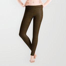 Dark Brown Christmas Burlap Cloth Leggings