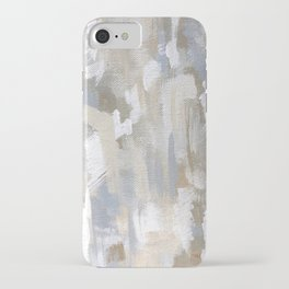 Neutral Abstract Cream and Blue iPhone Case