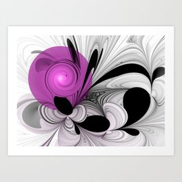 Abstract Black And White With Orchid Art Print
