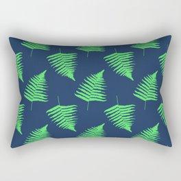 Navy and Lime Fern Pattern Rectangular Pillow