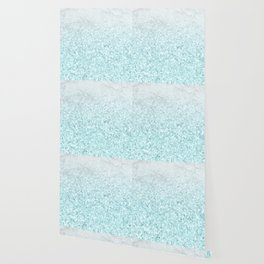 She Sparkles - Turquoise Sea Glitter Marble Wallpaper