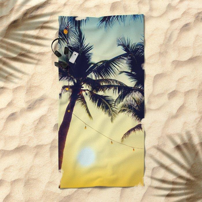 Vintage Palm trees with patio lanterns Beach Towel