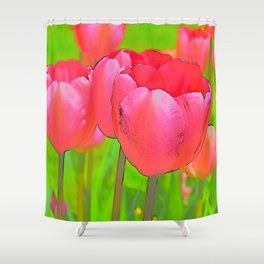 Etched Pink Tulips Shower Curtain