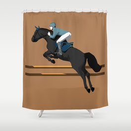 Jumping Black Horse and a Man Shower Curtain