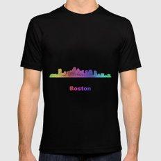 Rainbow Boston skyline MEDIUM Black Mens Fitted Tee