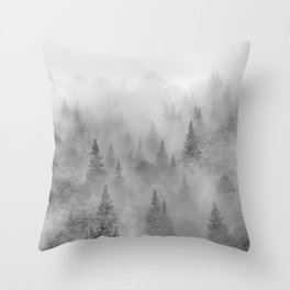 Foggy sunrise. BW. Pinsapos into the woods. Square Throw Pillow