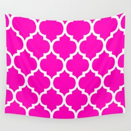 MOROCCAN PINK AND WHITE PATTERN Wall Tapestry