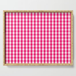 Hot Neon Pink and White Gingham Check Serving Tray