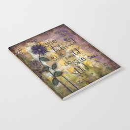 She Believed floral and vintage mixed media Notebook
