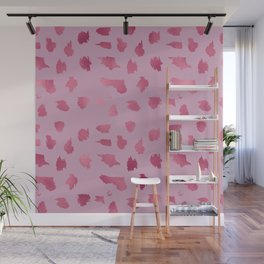 Elegant pink rose gold abstract brushstrokes polka dots Wall Mural