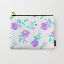 Purple Watercolor Rose Garden Print Carry-All Pouch