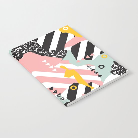 Spliced Geometric Memphis Pattern Geo Stripes Notebook