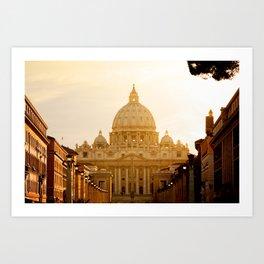 St. Peter's Basilica at sunset. Art Print