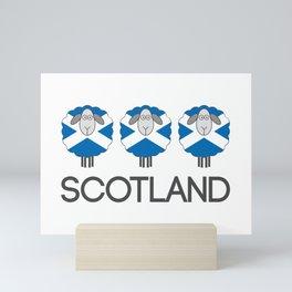 Trio of Scottish Saltire Flag Patterned Sheep Mini Art Print
