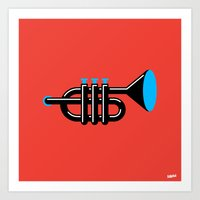 trumpet Art Prints featuring Trumpet by Marco Goran Romano