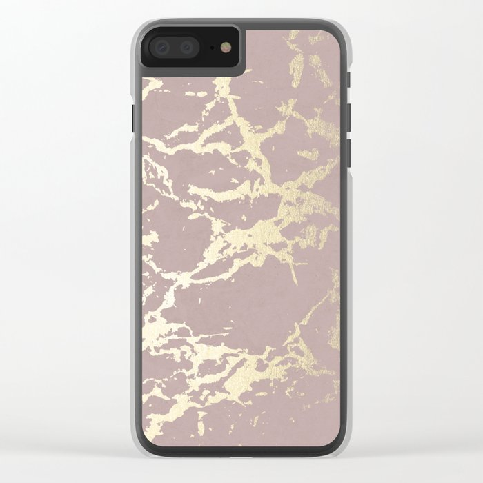 Kintsugi Ceramic Gold on Clay Pink Clear iPhone Case