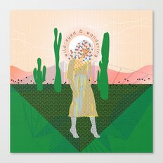 Wild-Eyed & Wandering, Woman in the Desert Contemporary Cactus Illustration Canvas Print