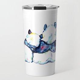 Pandas Bears Colorful Watercolor Painting Travel Mug