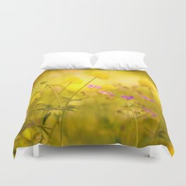 Wild flowers in the golden sunset shades Duvet Cover