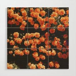 Orange Flowers Wood Wall Art