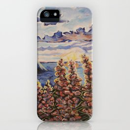 Reproduction of haystacks and wildflowers iPhone Case