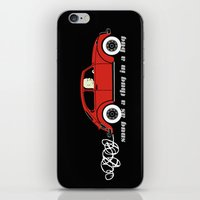 volkswagon iPhone & iPod Skins featuring Snug as a Thug in a Bug (red) by The Wallpaper Files
