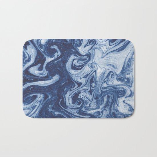 Yutaka - spilled ink marbled paper marbling swirl india ink minimal modern blue indigo pattern Bath Mat