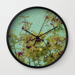 Rowan tree and purple polka dots Wall Clock